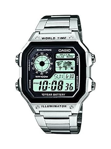 Casio Collection Herren-Armbanduhr Digital Edelstahl – AE-1200WHD-1AVEF - Day Date Mens Orologio Da Polso