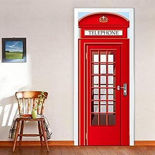 Zhiyu & art decor Wasserdicht Einfach abziehen, Selbstklebende Dekorative 3D Vintage Bücherregal Tür Aufkleber Z-8986 Telefonzelle