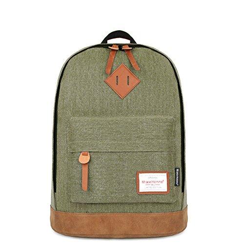 Minetom Mezclilla Backpack Mochilas Escolares Mochila Escolar Casual Bolsa Viaje Moda Color Sólido Unisex Madera Verde One Size(43*32*17