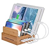 Yisen Handy Wood Bamboo Multi Device Smartphone Charging Station 5-Port 6A 30W USB Charging Dock for Smart Cellphone & Tablets(with UK plug power cord)