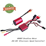 Crazepony-UK 2435 4800KV Brushless Motor Sensorless 2mm with 25A ESC Electronic Speed Controller Combo Set Splashproof for 1/16 1/18 RC Car Truck Running Off-Road Vehicle by