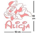 Minnie Mouse personalisierte Aufkleber Wandtattoo. Der Name und die Minnie Maus des personalisierten Wandaufkleber-Kindes. Wandaufkleber mit dem Namen eines Kindes und Minnie.