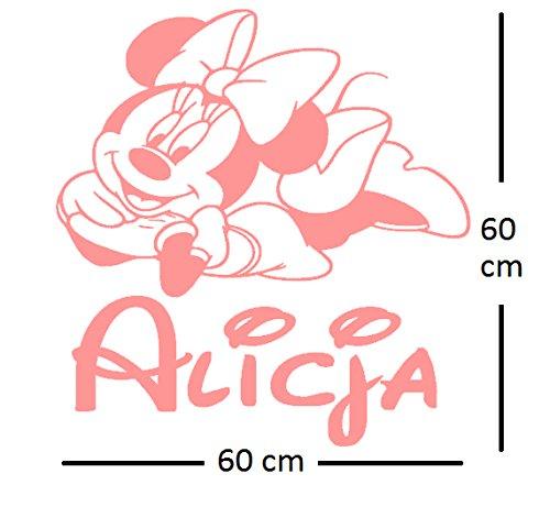 (Minnie Mouse personalisierte Aufkleber Wandtattoo. Der Name und die Minnie Maus des personalisierten Wandaufkleber-Kindes. Wandaufkleber mit dem Namen eines Kindes und Minnie.)