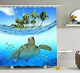HYSENM Duschvorhang Duschvorhänge polyester anti Schimmel wasserdicht Strand Ocean inkl. 12 Befestigungsringen 180x180 180x200 200x200, Schildkröte 180*180cm
