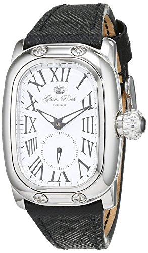 Glam Rock orologi unisex al quarzo con display analogico e cinturino in pelle nera 0.96.2199
