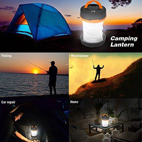 LE Laterne Zusammenklappbare led Taschenlampe mini LED Notfallleuchte 3 Helligkeiten Aussenleuchte für Camping Outdoor Wandern Angeln Abenteuer Campinglampe Ausfälle (1 er) - 6