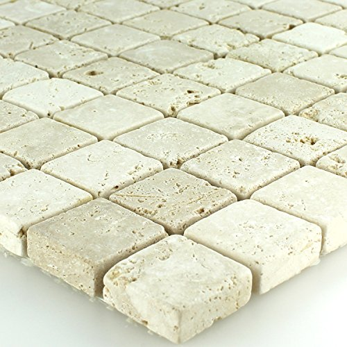 Travertin Naturstein Mosaik Fliesen Beige Getrommelt - Getrommelt Travertin Fliese