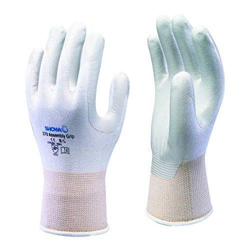 10 paia di Showa 370 bianco montaggio Grip-Guanti con Grip Palmo ricoperto in Nitrile, taglia XL