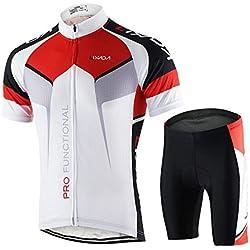 Lixada Hombres Maillots de Bicicleta Jersey de Manga Corta + Pantalones Cortos Acolchados Ropa de Ciclismo Respirable Secado Rápido Cómodo