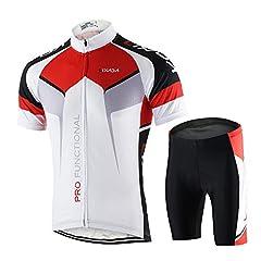 Idea Regalo - Lixada Abbigliamento Ciclismo Set da Uomo Asciugatura Veloce Maglia Manica Corta + Pantaloncini Imbottiti Set di Abbigliamento Ciclista