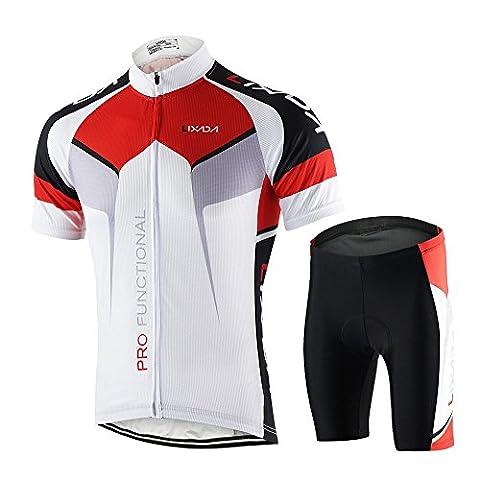Lixada Homme cuissard VTT + maillot velo à manches courtes Respirant Vêtements de Cyclisme