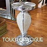 Touche de Vogue Tov Argent Miroir Table d'appoint Moderne Plant Stands Lit côté Sparkle Extrémité Romany Pearl