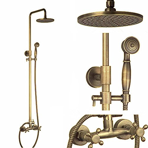 Homelava Antik Messing Dusche Wasserhahn mit 8-Zoll-Duschkopf + Handbrause