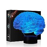 Cervello Regalo di compleanno 3D Illusion Night Light Accanto Lampada da tavolo, Gawell 7 Cambia colore Touch Switch Decorazione Lampade Baby Gift con acrilico Flat & Base ABS e cavo USB Theme Toy