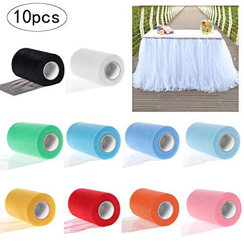 JJYHEHOT 10 Rotoli di Tulle Colorati Assortiti per Matrimoni Feste Fai da Te Laminati Tulle Tessuto Decorazione Artigianale