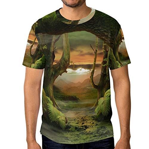 Armee Der Königin Bettdecke (T-Shirt für Männer Jungen Sonnenuntergang Mysterious Cartoon Forest Custom Short Sleeve)