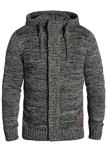 SOLID Pierrot Herren Strickjacke Cardigan aus 100% Baumwolle Meliert, Größe:M, Farbe:Black (9000)