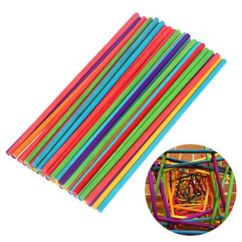 Ultnice coloré chevilles en bois Craft Bâtons pour les modèles Sculpture 50 pcs Multicolor