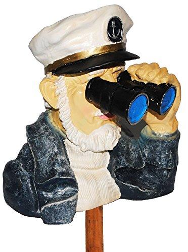 Unbekannt Kapitän / Seefahrer mit Fernglas - als  Spanner am Gartenzaun  - aus Kunstharz - große XL Figur - Maritim - Gartenzwerg / Gartendeko Garten - Nachbar Reisen..