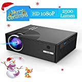 Mini Beamer, 2500 Lumens LCD Gblife Mini C7 1080p Full HD LED Projektor Multimedia Heimkino 2018 Neuste Video Projektor Unterstützt PC, Laptop, Tablet, Smartphone, USB-Flash-Disk, SD-Karte Schwarz