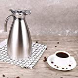 Thermo Pot, Stainless Steel Coffee Tea Pot Double Wall Vacuum Insulated Thermo Jug Hot Water Bottle(2L Silver)