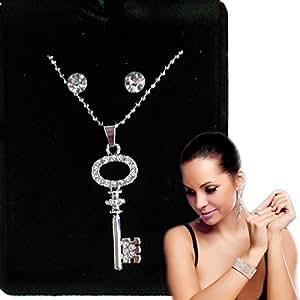 Collier et boucles 2 DIAMANTINI bijou pendentif 049 418 UNE FEMME KEY