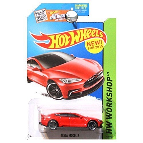 Hot Wheels, 2015 HW Workshop, Tesla Model S [Red] Die-Cast Vehicle #217/250 by Hot Wheels