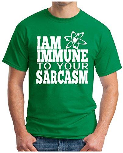OM3 - BIG-BANG-I-AM-IMMUNE-TO-YOUR-SARCASM-WS - T-Shirt ATOM GEEK EMO FUN SITCOM TBBT SARCASM PARODY, S - 5XL Grün