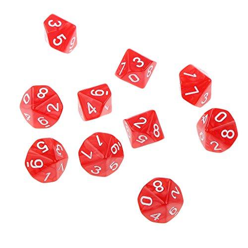 10 Stück Zehn Seitigen D10 Würfel Multi-seitig Würfel Spielwürfel Würfel - Rot, 22mm