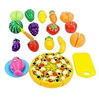 Toy Food, Finer Shop 24Pcs Plastic Fruit Vegetable Kitchen Pretend Play Food Cutting Toy Set Kids Toys