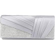Bolso Clorislove para mujer, de satén, atemporal, con pedrería, elegante bolsa de hombro, para bodas, graduaciones