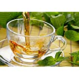Villa Lotus Original Crystal Glass Cups + Saucers (Set Of 6 Cups + 6 Saucers) For Tea And Coffee 175 Ml
