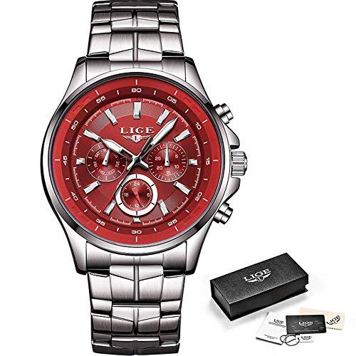 Watch-LUTEM Herren Armbanduhren Männer Luxus Wasserdichte Uhren Uhr mit Edelstahlband, Sport Business Casual Uhr, Leuchtzeiger, Woche/Datum / 24 Stunden-Anzeige