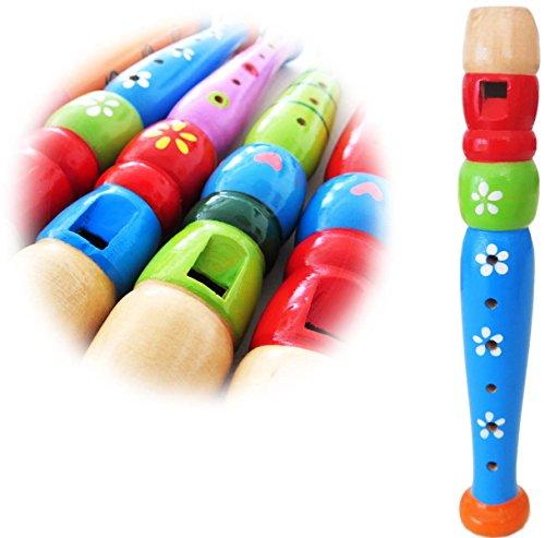 KEEPDRUM KFL1BL Flöte aus Holz für Kinder Blau Kinderflöte