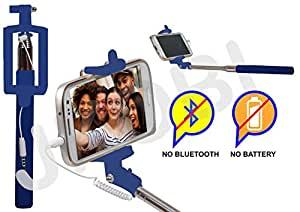 Selfie Stick Monopod With Wired Aux Cable Connectivity Compatible For Intex Cloud Glory 4G -Blue