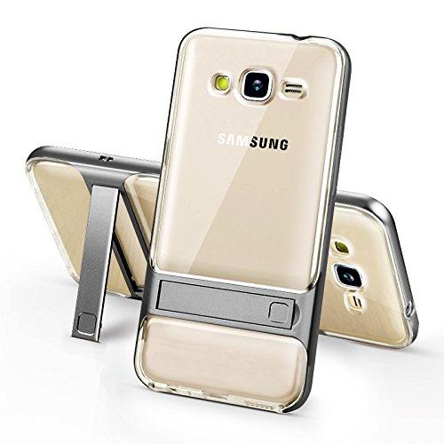 BCIT Samsung Galaxy J2 Prime Funda - Dual Layer Híbrida Choque Absorción Protección TPU +PC Bumper Carcasa con pata de Cabra para Samsung Galaxy J2 Prime - Transparente Gris