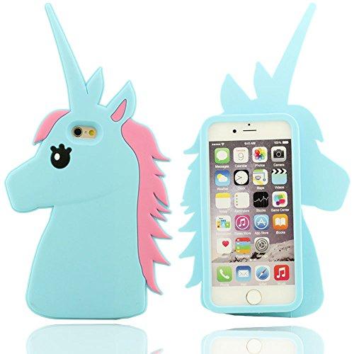Klar Design Nette Karikatur unimon Unicorn-Form Soft-Silikon-Schutzhülle Hülle case für Apple iPhone 6 plus / 6S plus 5.5 inch(blau) blau