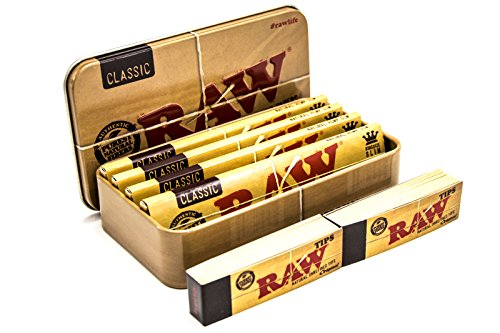 RAW, Scatola di Latta per Tabacco, Sigarette, Oggetti e da Viaggio, con 4 cartine Classiche King...