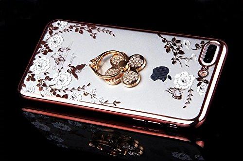 iPhone 7 Plus Coque,iPhone 7 Plus Coque en Silicone iPhone 7 PlusS Housse de Téléphone, iPhone 7 Plus TPU Silione Coque scintillement Diamant Sur Fond Noir Fleur Motif Coloré Fleur en épanouissement a Placage Rose,Trèfle à quatre feuilles Bague
