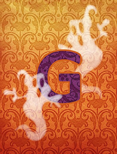 s cj1040-a-chf Halloween Ghost Monogramm Buchstabe A Initiale Flagge Leinwand, Gesponnenes Polyester, mehrfarbig, Größe S ()