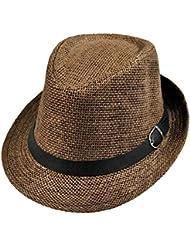 TININNA Moda Sombrero,Elegant verano sombrero de paja De Lino Verano Playa Gorro Para Mujer Hombre Unisex.(café)
