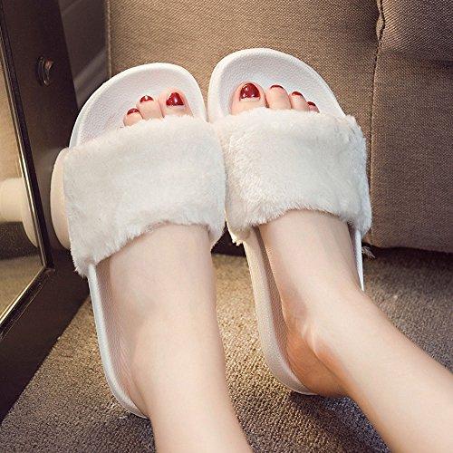 Sandali,Topgrowth Donne Slip Su Cursori Birichino Pelliccia Finta Pantofola Flip Flop Sandalo Bianco