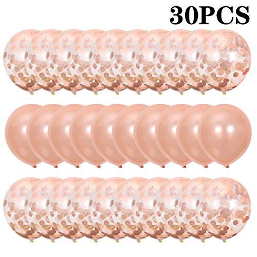 COOFIT Luftballons, 30 Stück 12 Zoll Rose Gold Konfetti Ballon Premium Latex Glitter Ballons für Party Zur Dekoration Geburtstagsfeier Dekoration,Weihnachten, Brautgeschenke, Valentinstag,Muttertag