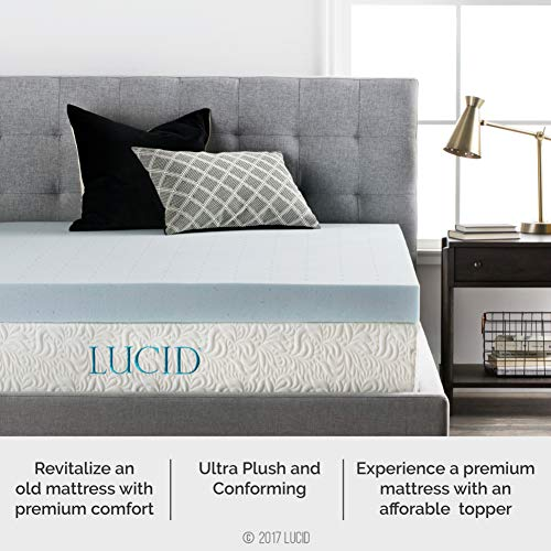 LUCID 4 Inch Gel Memory Foam Mattress Topper - Ventilated for Optimum Temperature -Twin Image 3