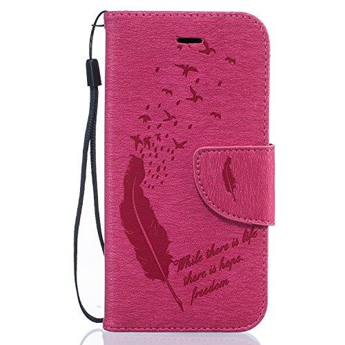 Cover per Apple iPhone 6 6S Custodia, TOCASO Copertura di Ccuoio Cover Azzurro in PU Sintetica Ecopelle Pelle Guscio Disegno Piuma Uccelli per iPhone 6 6S Protezione Caso Ultra Sottile shell protettiv Red Rose