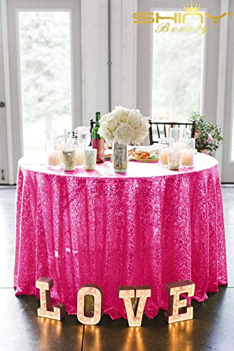 ShinyBeauty Fuschia Pailletten-Tischdecke rund 156 Zoll Fuschia Tischdecke Party Tischdecken Glitzer-Tischdecken CT0524