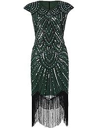 PrettyGuide Femmes 1920 Gatsby Diamant Paillette Frange Sparkly Robe Charleston