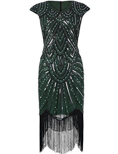 PrettyGuide Damen 1920er Gastby Diamant Pailletten verschönert mit Fransen Flapper Kleid S Luxus Grün