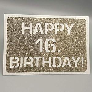 AniPolDesign – Glückwunschkarte Geburtstagskarte oder Gutscheinhalter – HAPPY 16. BIRTHDAY – mit Briefumschlag – GOLD…