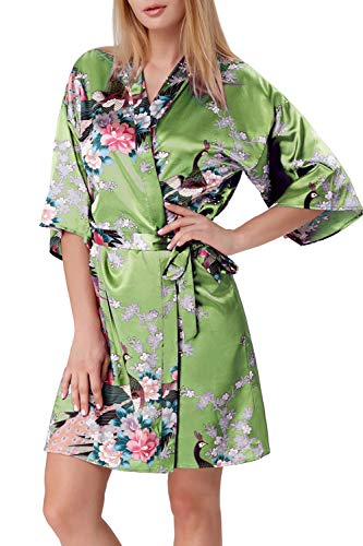 Zexxxy - Bata de satén para Mujer, Kimono, túnica Corta, Ropa de Noche, Albornoz Peacock y Flores...